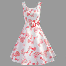 dress womens summer Bow Musical Note Printing Sleeveless Evening Party Dress Vintage Dress(China)