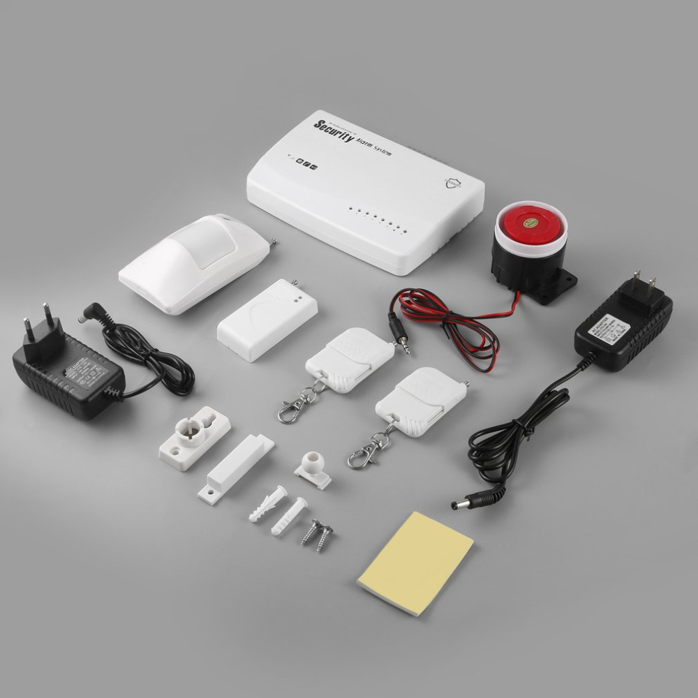 Wireless PSTN/GSM Home Security Burglar Alarm System Siren Kit SIM SMS Alarm Door Open Detector Motion Detector 433mhz dual network gsm pstn sms house burglar security alarm system fire smoke detector door window sensor kit remote control