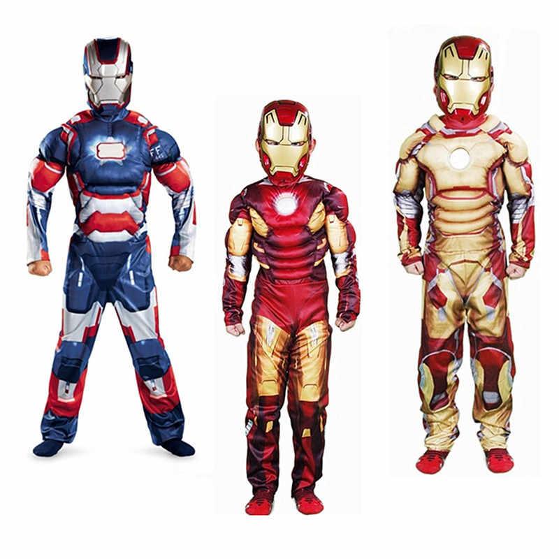 Капитан Америка Мстители Косплэй костюм мальчик Мышцы костюм супергероя с супергероями, Человек-паук, Бэтмен, Супермен, Железный человек, капитан комбинезон для детей