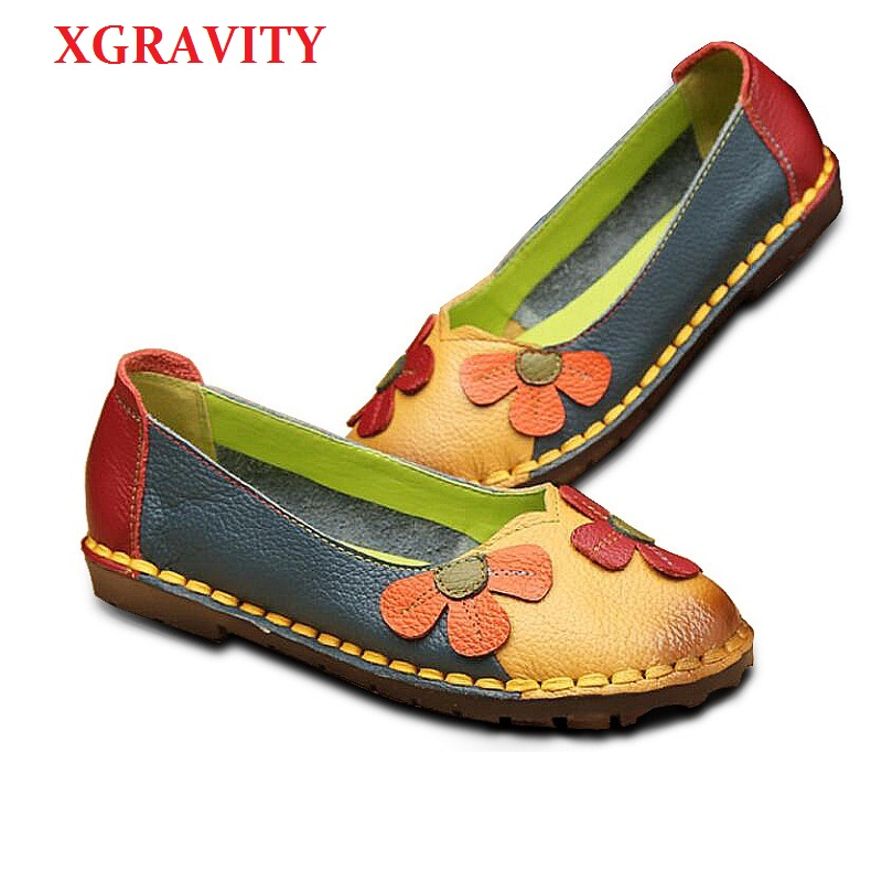 XGRAVITY 2018 NEW Fashion Flower Design Round Toe Mixed Color Flat Shoes Vintage Genuine Leather Woman Floral Lady Loafers C001 xgravity hot sale original vintage lady