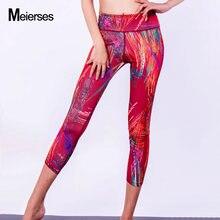 1cd32abb6 MEIERSES Sports Wear para Mulheres Elasticidade de Alta Peso 3 4 de  Comprimento Leggings Roupas de Fitness Workout Gym Wear Plus.