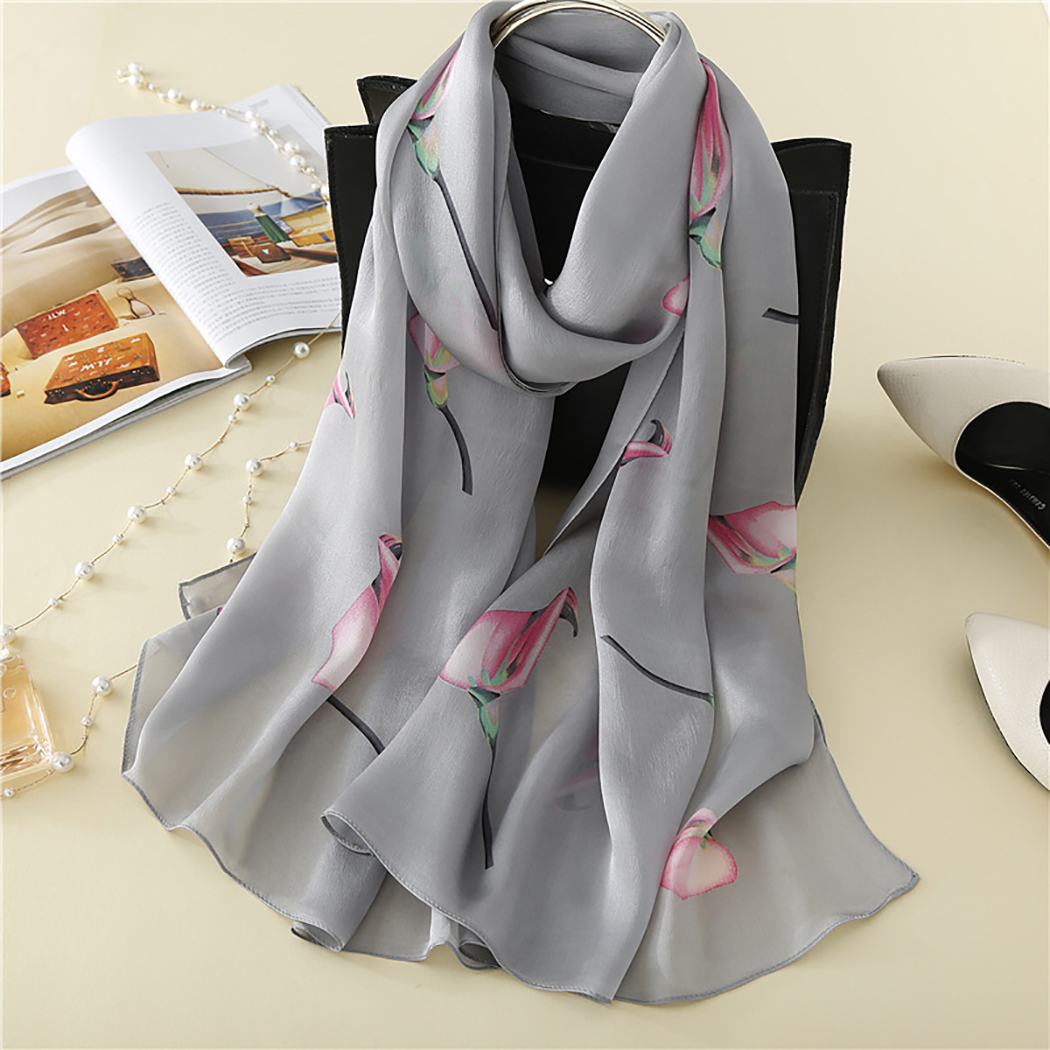 Ladies 100% Silk   Scarves     Wraps   Luxury Brand New Shinning Silk   Scarf   Headband Foulard Femme Long Bandana Shawl For Summer Autumn