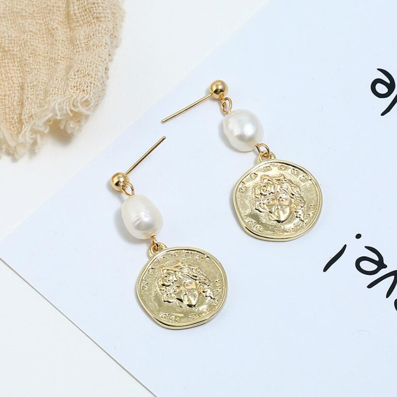 Newest Design Earrings Coin Freshwater Pearls Dangle Earrings For Women Bijoux Portrait Drop Earrings Fashion Jewelry in Drop Earrings from Jewelry Accessories