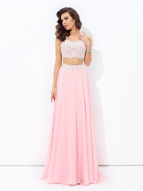 2017 de Color Rosa de Dos Piezas de Baile Vestidos Largos Correas ...