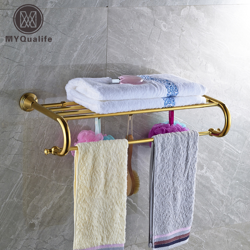 цена на Luxury Gold Bath Towel Holder Wall Mounted Brass Bathroom Towel Rack Towel Bar