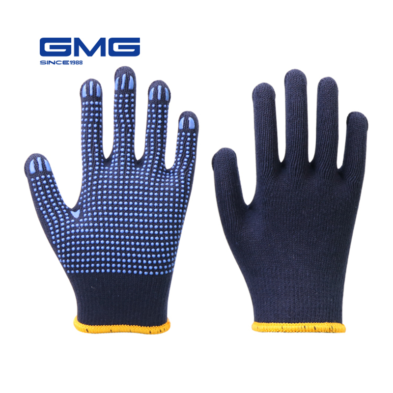 Professional Working Gloves GMG Navy Blue Polycotton Shell Blue PVC Dots Coating Work Safety Gloves Cotton Gloves