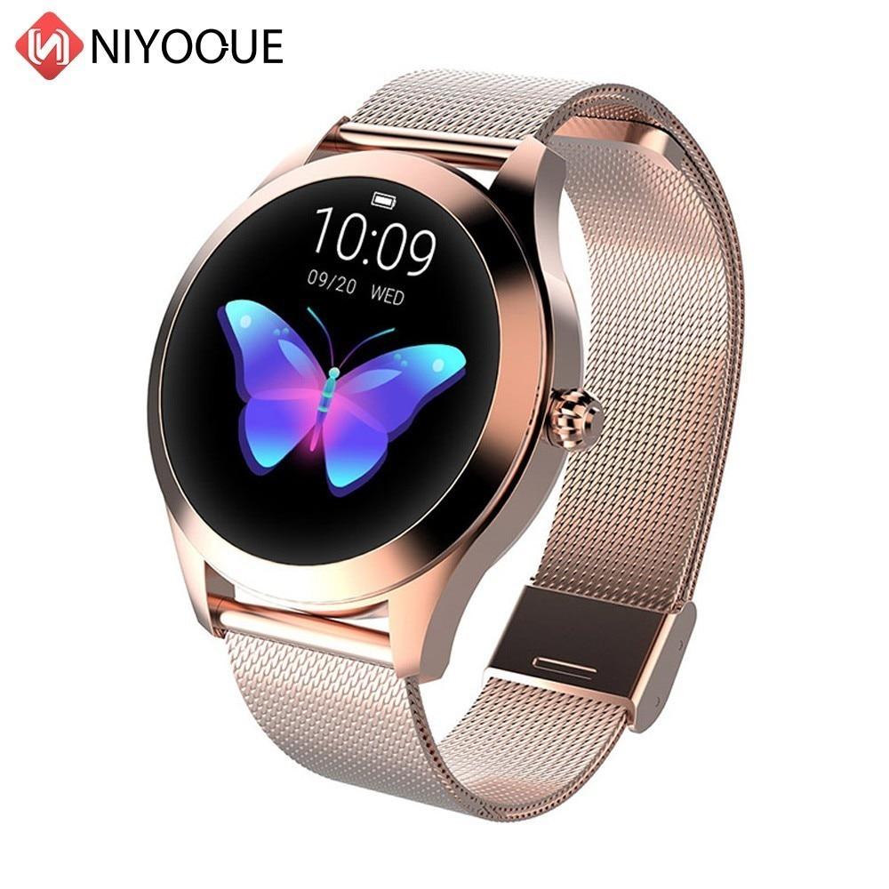 Niyoque relógio inteligente mulher kw10 monitoramento de freqüência cardíaca ip68 à prova dip68 água multi-modos de esportes pulseira de fitness smartwatch para senhora