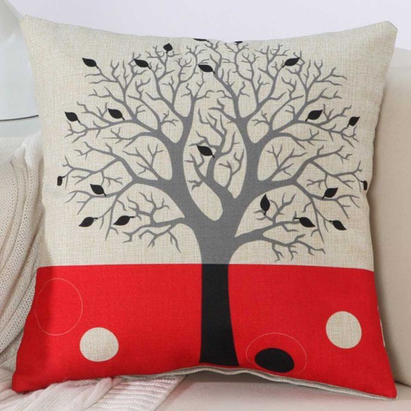 Patchwork Tree Printed Pillowcase Retro Home Decoration Textile Art Crafts Cushion Cover Linen Cloth Pillow Case thumbnail