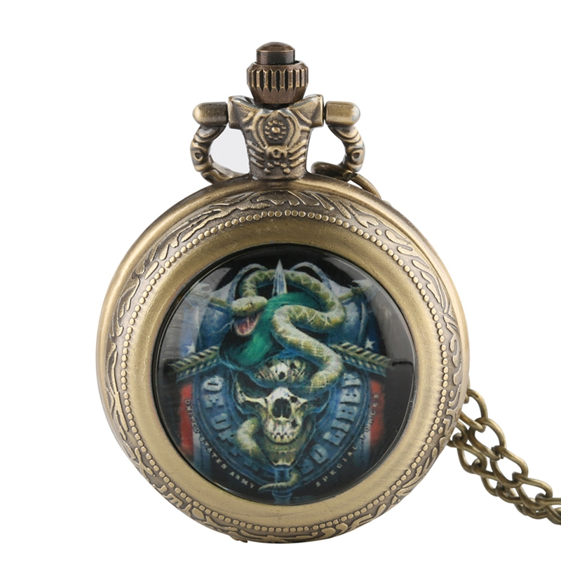 Green Beret United States Skull Army Special Force Vintage Pocket Watches Men Steampunk Quartz Pocket Watch With Chains Gifts