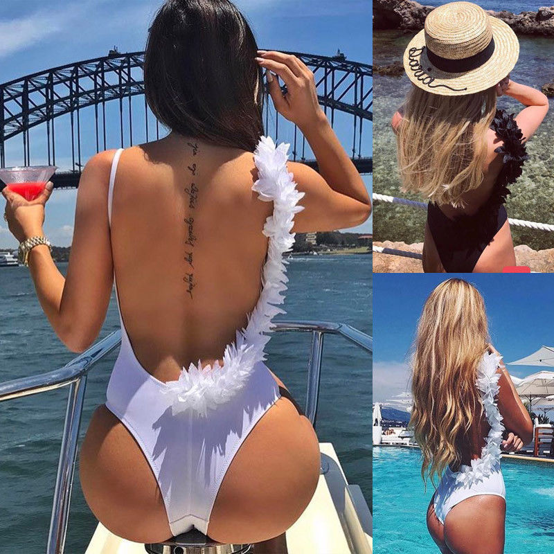 2018 New Sexy Women Flower One-Piece Swimsuits Lace Flower Blackless Sexy Women Swimwear Push-Up Padded Bathing Suits
