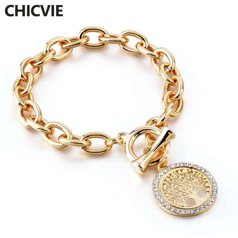 CHICVIE New Fashion Gold Round Shape Charm Tree Of Life Bracelets&Bangles Designs For Women Stainless Steel Bracelets SBR180157