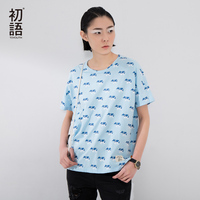 Toyouth 2016 New Arrival Women Cotton Cartoon Printed T Shirts Summer Casual O Neck Top