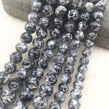 Оптовая продажа 4/6/8/10 мм черные стеклянные бусины Круглые свободные бусины для изготовления ювелирных изделий DIY браслет ожерелье #20