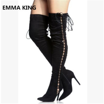 EMMA KING Women Sexy Flock Cross Strap Long Thin Thigh Heel Over The Knee Pointed Boots Model Catwalk Stage Winter Boots Women