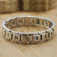 Wholesale S925 Sterling Silver Buddhist Jewelry Men's Six Words Buddha Retro Thai Silver Character Bracelet