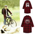 BTS Bangtan Meninos kpop EXO coletivo xadrez Vermelha camisa de manga Longa k-pop juvenil Casaco Solto Camisola Hoodies À Prova de Balas jaqueta