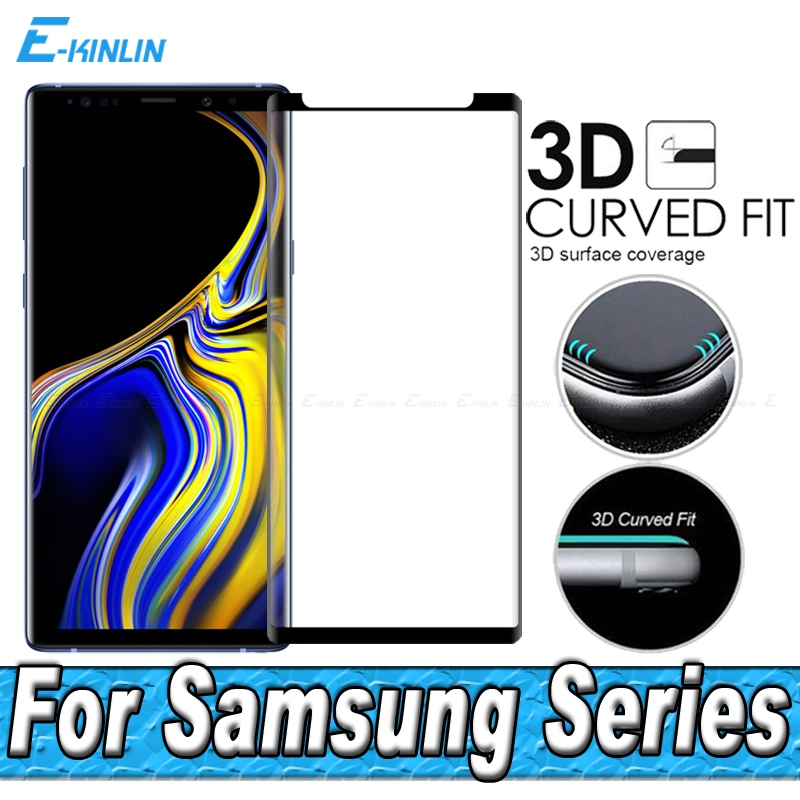 3D Curved Edge Full Glue Tempered Glass Screen Protector For Samsung Galaxy Note 8 9 S8 S9 Plus Case Friendly Protective Film