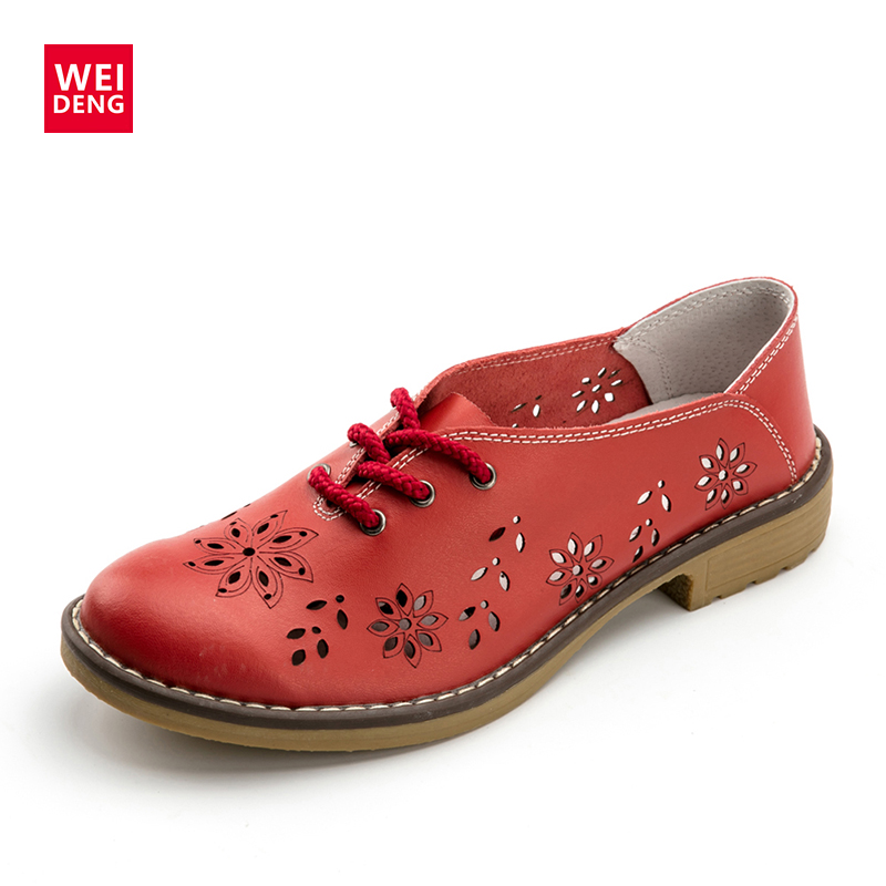 WeiDeng מבטא האמיתי נשים דירות מקרית גבירותיי מעצב אוקספורד תחרה עד אופנה בעבודת יד קרסול מגפי נשים 2018