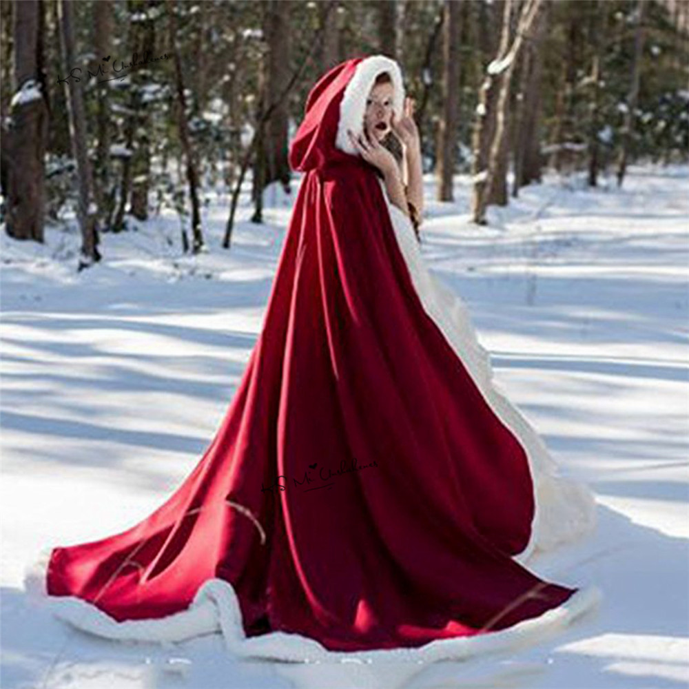 Little Red Riding Hood Cosplay Faux Fur Cloak Long Bridal Wraps Jacket Winter Warm Coats Capes Christmas Wraps Cloaks Party Coat