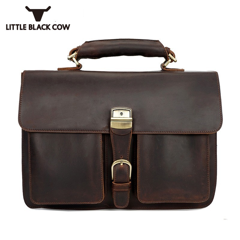 Famous Brand Mens Handbags Retro Tote Portfolio Briefcases Business Genuine Leather Shoulder Bag Male Crossbody Bags Brown