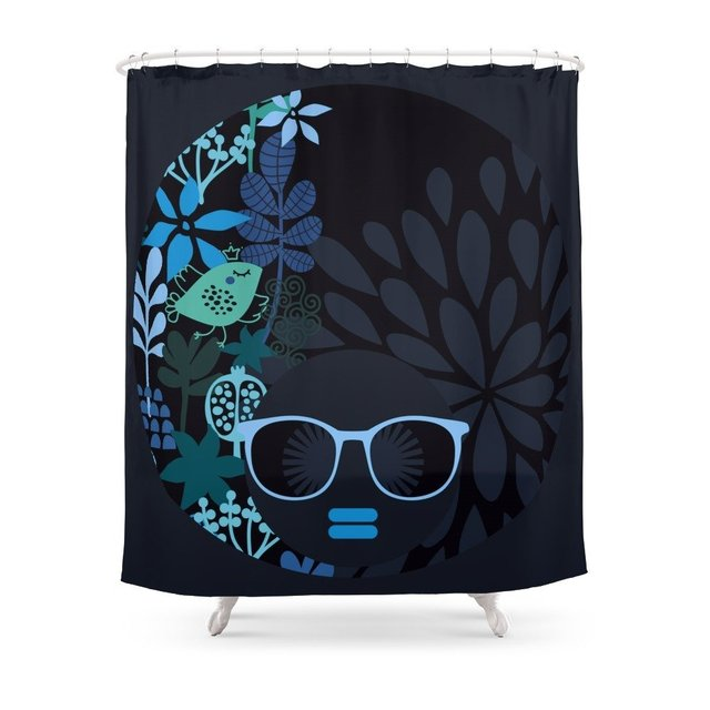 Afro Diva Teal Shower Curtain In Shower Curtains From Home