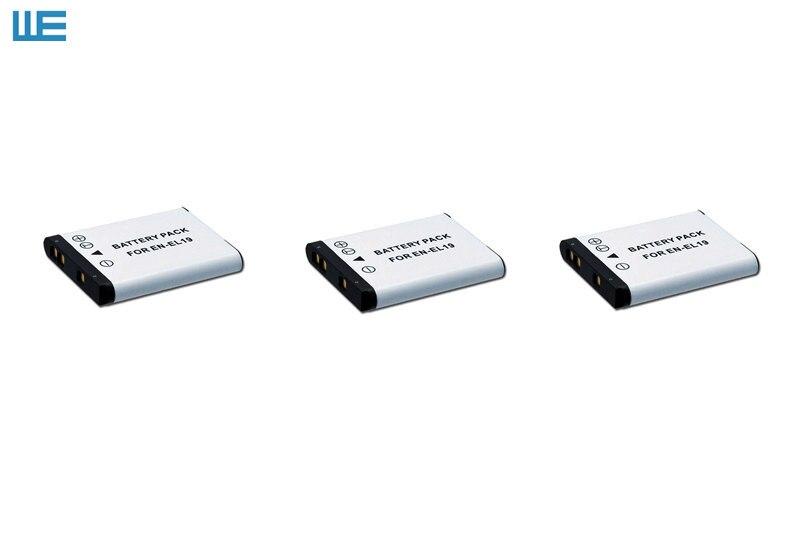 3PCS/Lot EN EL19 ENEL19 EL19 Battery for Nikon Coolpix S32