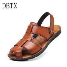 купить Men Sandals Split Leather Men Beach Roman Sandals Brand Men Casual Shoes Flip Flops Men Slippers Sneakers Summer Shoes дешево