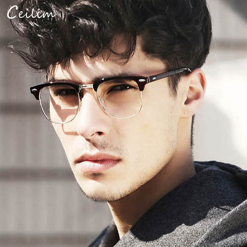 Négyzet alakú szemüvegkeret optikai szemüvegkeretek márka férfiak tiszta lencse hamis szemüveg Vintage szegecs félfém szemüvegek férfi oculos