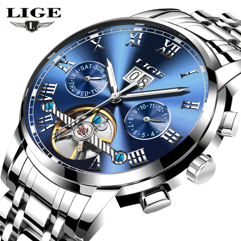 Mens Watches Top Brand Luxury <font><b>LIGE</b></font> Automatic Machinery Full steel Watch Fashion Casual Waterproof Clock Men Relogio Masculino image