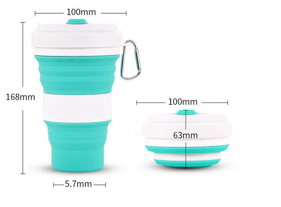 DHL 100pcs high quality 550ml Folding Silicone Cup Portable Water Cup Leak Proof Silica Coffee Mug Drinking Collapsible Mugs-in Mugs from Home & Garden    1
