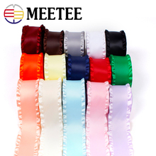3Yards 5cm Wide Double Ruffle Ribbon Skirt Trim for Hair Accessories Wedding Decoration Gift Wrapping DIY Material