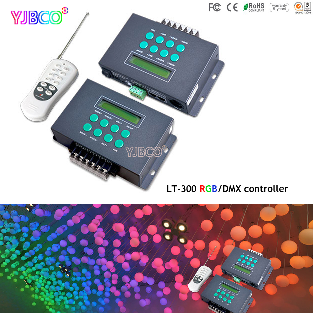 LT-300 LED RGB DMX512 Controller Colourful Funtion Programmable with small LCD screen For led module light DC12V-24V dmx512 digital display 24ch dmx address controller dc5v 24v each ch max 3a 8 groups rgb controller