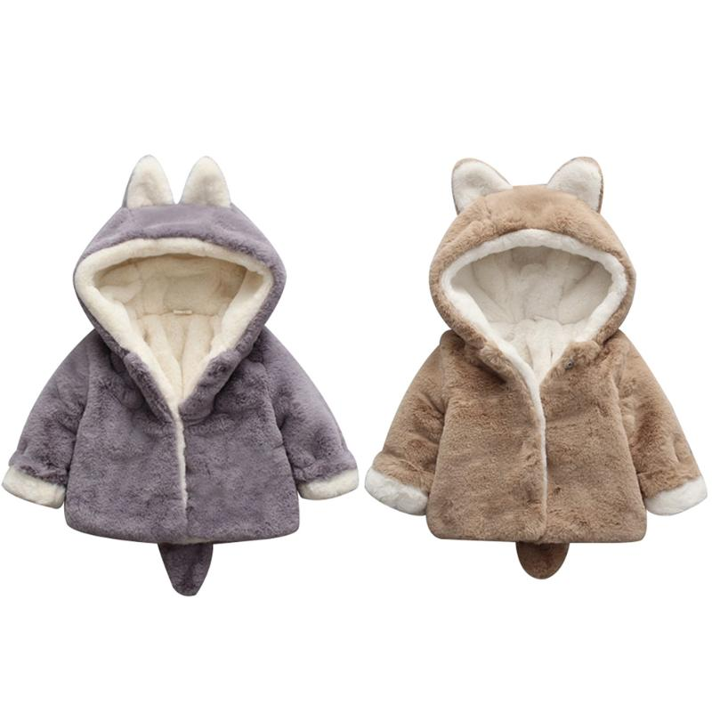 Warm kids Jacket Xmas Snowsuit For Chrismas Gift Winter Baby Kid Girls Cute Bunny Fleece Coat Warm Hooded Outwear for 0-3Y