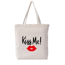 Monogrammed Tote Bag 12oz Canvas Thick Tote Floral Print Kiss Me Bridesmaid Shopping Large Bag Drop Shipping calico print tote bag