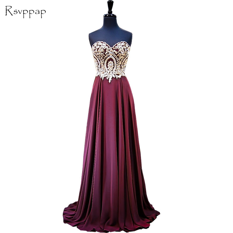 Long Evening Dress 2019 A-line Sweetheart Sleeveless Beaded Gold Lace Floor Length New Arrival Women Burgundy Evening Gowns