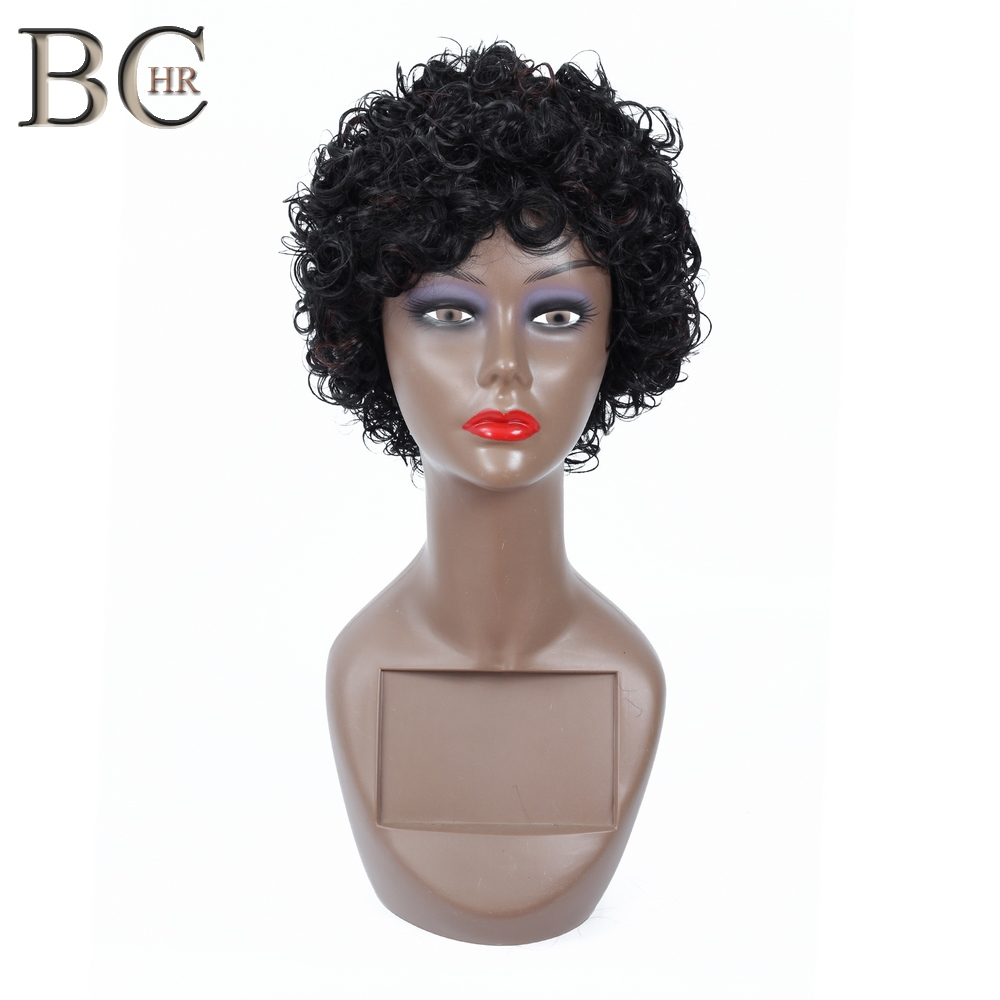 BCHR Natural Black Short Curly Synthetic Wigs For Black Women African Hairstyles High Temperature Fiber