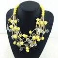 Candy color cuentas de collar de moda cereza diseño de la forma única declaración collar precio de fábrica collares al por mayor