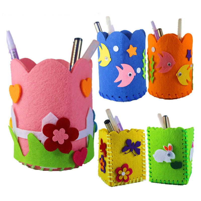 Us 2 34 35 Off Fabric Children Diy Handmade Material Kindergarten Handmade Pen Container Animal Kids Arts Crafts Kits Kids Gift Toys Dy06 In