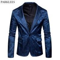 Navy Blue Mens Paisley Suit Notched Lapel Slim Fit Single Breasted One Button Blazer Men Dress