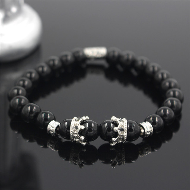 Silver Or Gold Imperial Crown With Natural Stone Black Bracelet