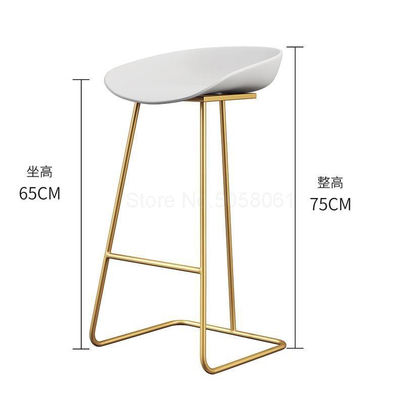 Скандинавский барный стул из кованого железа креативный простой барный стул кафе Золотой барный стул передний высокий стул - Цвет: ml10