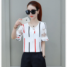 hot deal buy women spring summer style chiffon blouses shirts lady brand bow tie short flare sleeve blousas tops feminina df1711