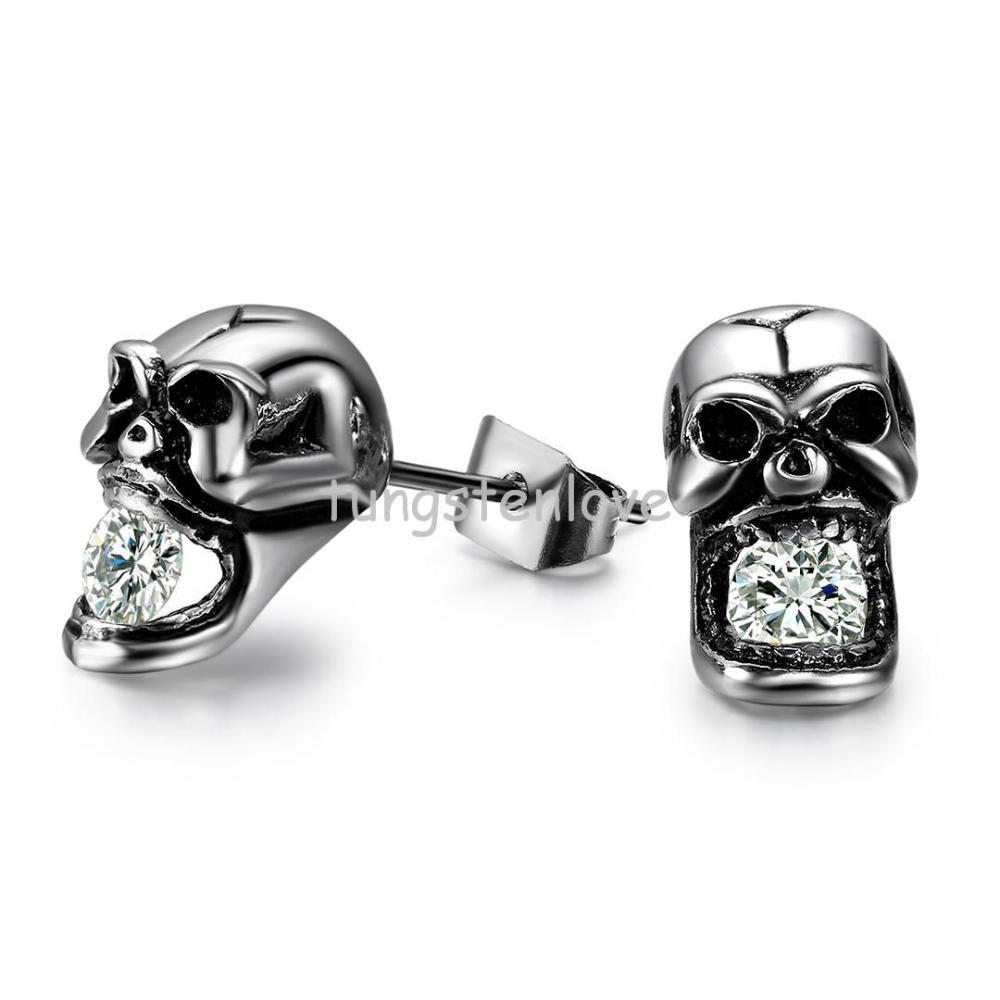 Fashion Creative Skull Shaped With Crystal Anium Steel Mens Stud Earrings Hypoallergenic Personality Styles For Men And Women In From