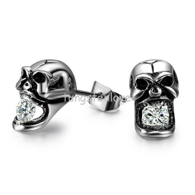 Fashion Creative Skull Shaped With Crystal Anium Steel Mens Stud Earrings Hypoallergenic Personality Styles For Men