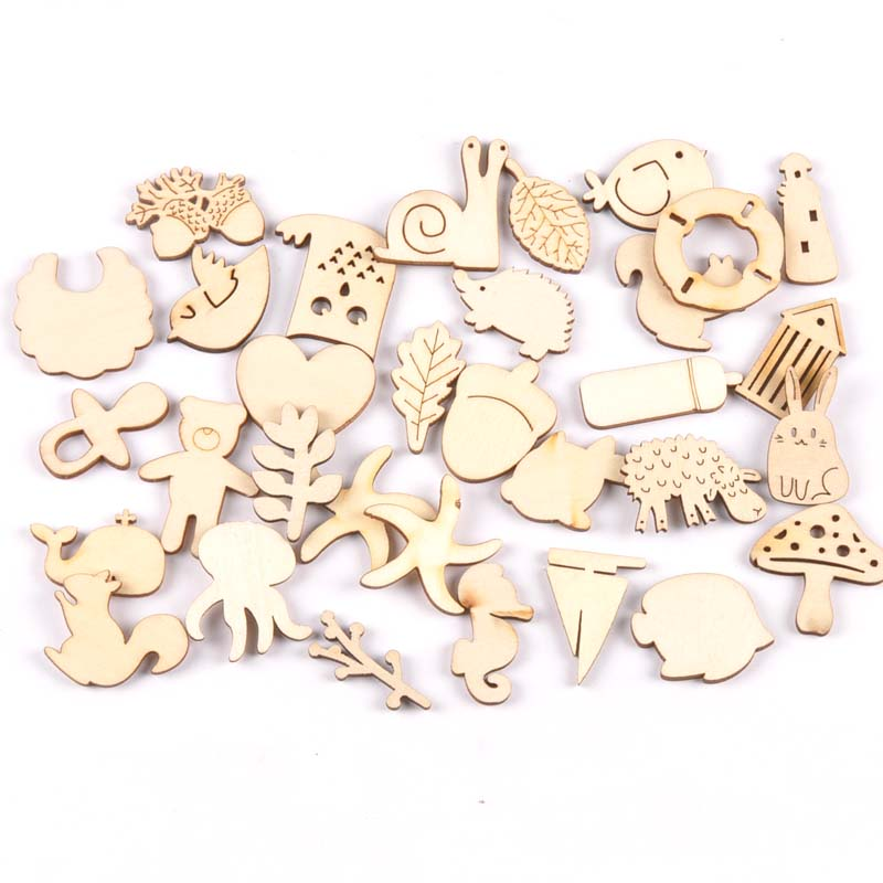 20pcs Natural Animal Pattern Wooden Scrapbooking Carft For Kid Painting Diy Accessories Home Decor Ornament 25-35mm Mt1943