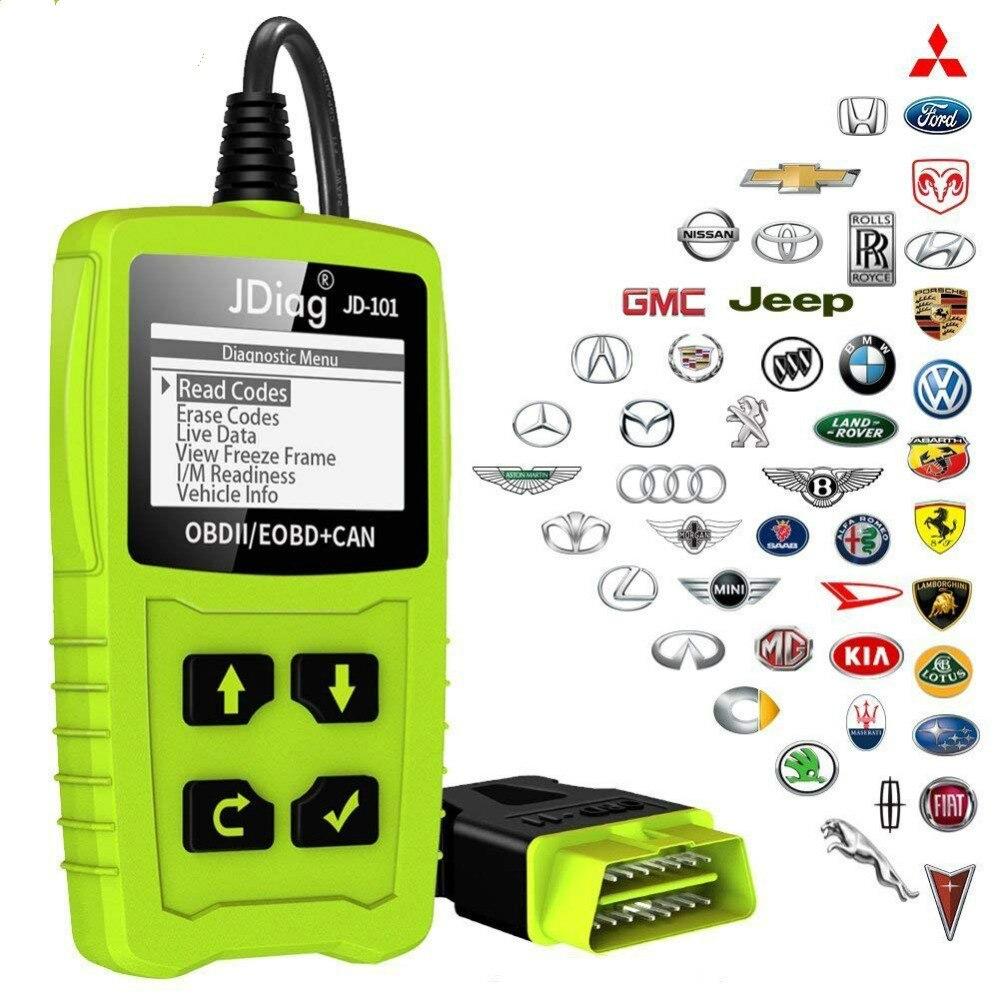 JDiag JD101 Code Leser Motor Scan Tool Check Engine Licht Auto Diagnose Werkzeug OBD2 Scanner Automotriz Mit Batterie Test