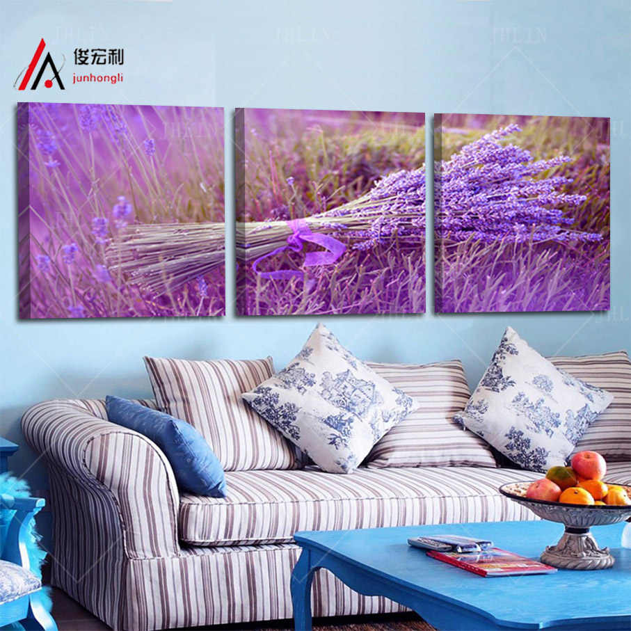 3 pieces home decoration one sheaf art purple lavender flowers modular pictures painting on the wall tableau decoration wall