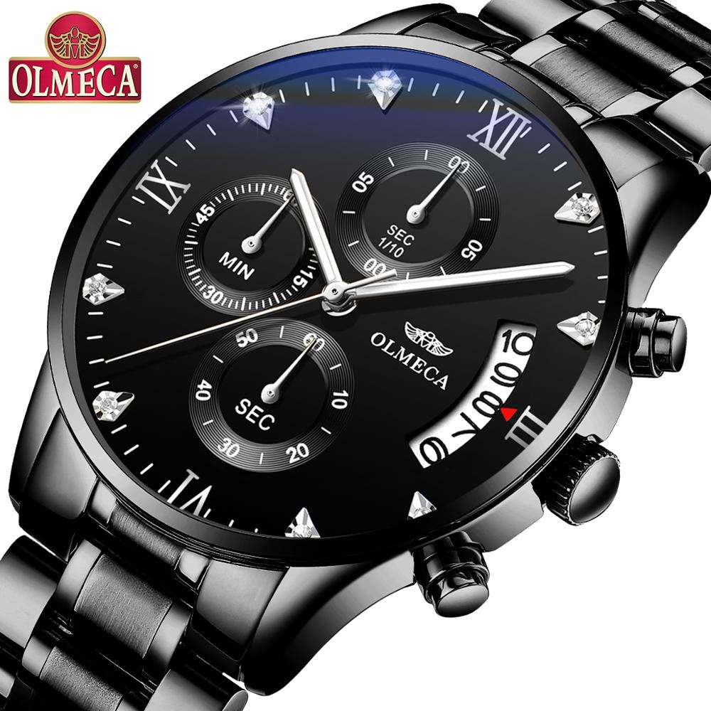 OLMECA Top Brand Luxury Men Watches Military Quartz Wristwatches Fashion Relogio Masculino Famous Sports Dress Mens Watch Clock black metal watches men
