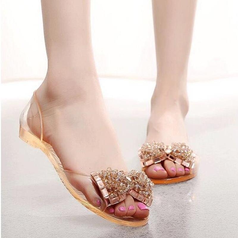 8fdd2ed32 Women Sandals Summer Style Bling Bowtie Fashion Peep Toe Jelly Shoes Sandal  Flat Woman 2 Colors Size 35-40
