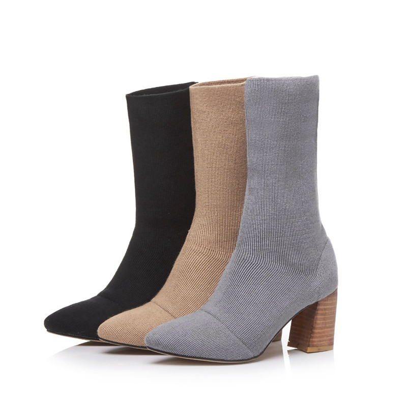 Odetina 2017 New Fashion Stretch Sock Booties for Women Chunky Block Heel  Ankle Boots Pointed Toe Knitting Boots Plus Size 33 43-in Ankle Boots from  Shoes ...